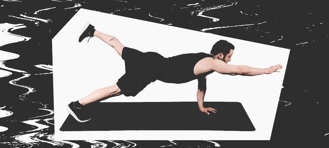 Поднятие ног и рук в планке на прямых руках